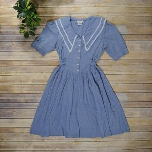 Vintage Chambray Prairie Dress with Lace Collar
